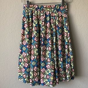 LuLaRoe MADISON Skirt Multi-Color FLORAL/Pleated
